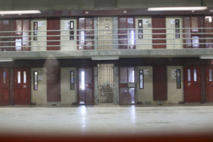A cell row is seen at the Secure Housing Unit (SHU) during a media tour at the Corcoran State Prison in Corcoran, California October 1, 2013. The prison was the first in the state with a separate facility built for SHU inmates, where some of the most dangerous prisoners are housed. Picture taken October 1, 2013. REUTERS/Robert Galbraith (UNITED STATES - Tags: SOCIETY CRIME LAW) - RTR3FK9N
